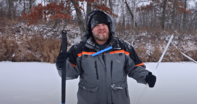 How to properly use a spud bar to check ice thickness